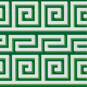 "Greek Meander Gift Wrapping Paper on Green & Ivory Foil - 30"" x 5' Roll"