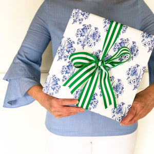Blue and White Block Print Gift Wrap - The Preppy Bunny