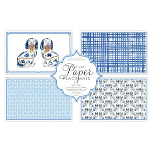 Blue Porcelain Dogs Paper Placemats - The Preppy Bunny