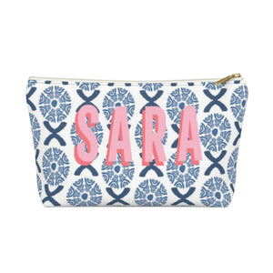 Camille Blue Small Zippered Pouch - The Preppy Bunny