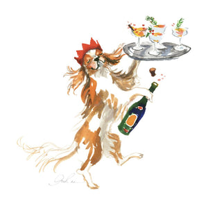 Champagne Dog Art Print - The Preppy Bunny