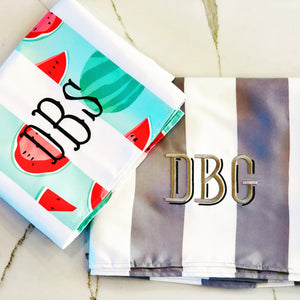 Cabana Stripe Narrabeen Beach Towel with Monogram - The Preppy Bunny