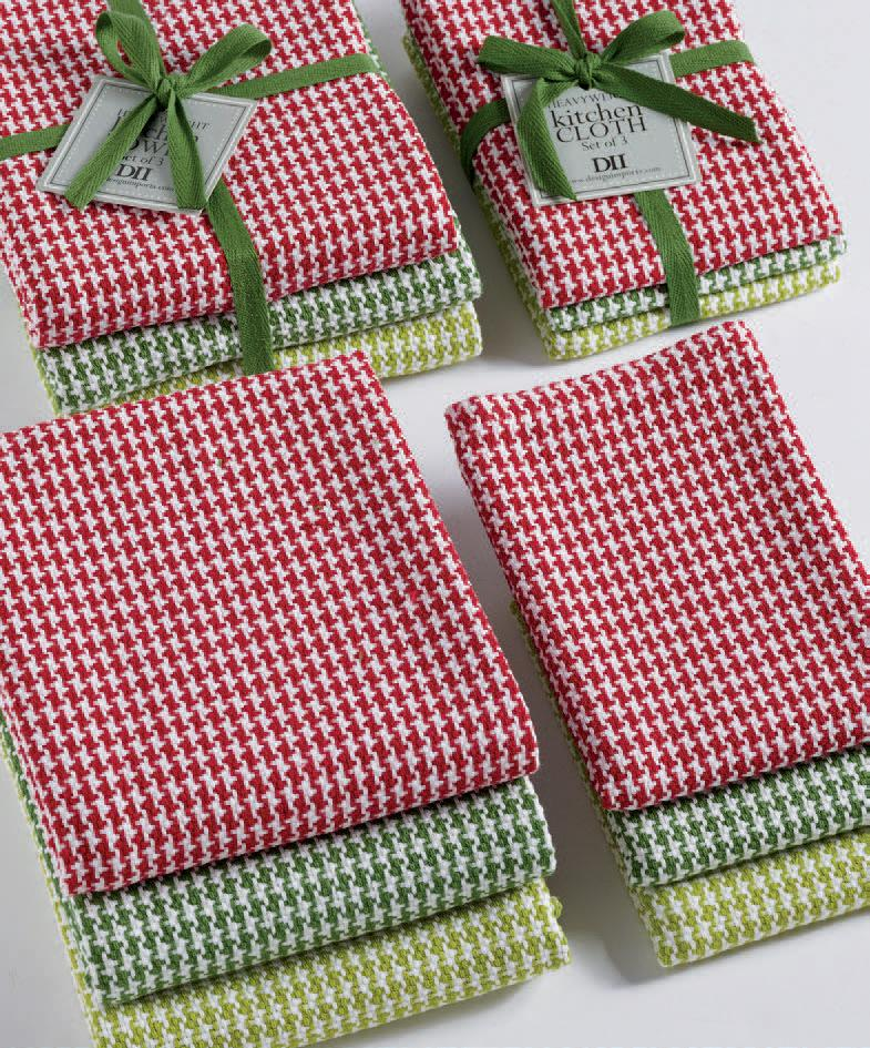 Holiday Houndstooth Heavyweight Dishcloth Set of 3 - The Preppy Bunny