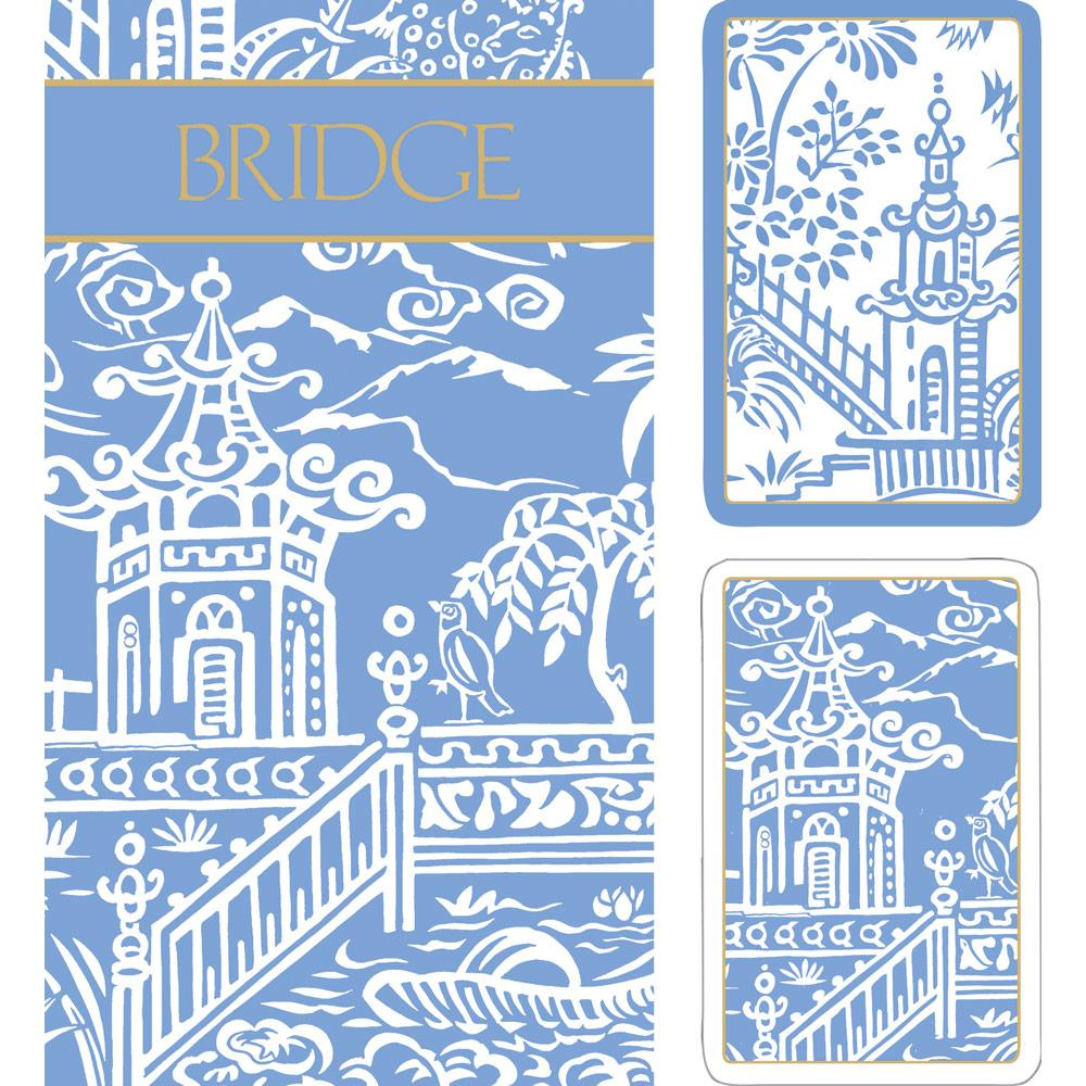 Pagoda Toile Large Type Bridge Gift Set - 2 Playing Card Decks & 2 Score Pads - The Preppy Bunny