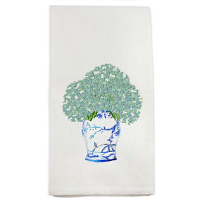 Blue White Ginger Jar with Hydrangeas Tea Towel - The Preppy Bunny