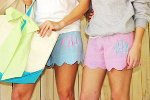 Green Seersucker Scallop Shorts - The Preppy Bunny