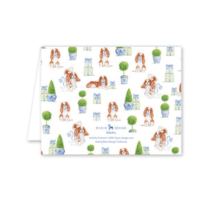 Dash Topiary and Toile Folded Notecards - The Preppy Bunny