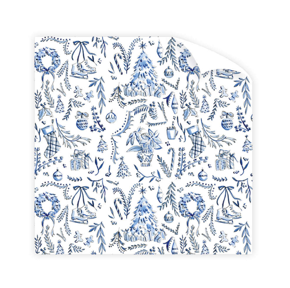 Blue Christmas Wrapping Paper - The Preppy Bunny