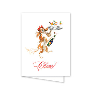 Champagne Cheers Dog Folded Notecards - The Preppy Bunny