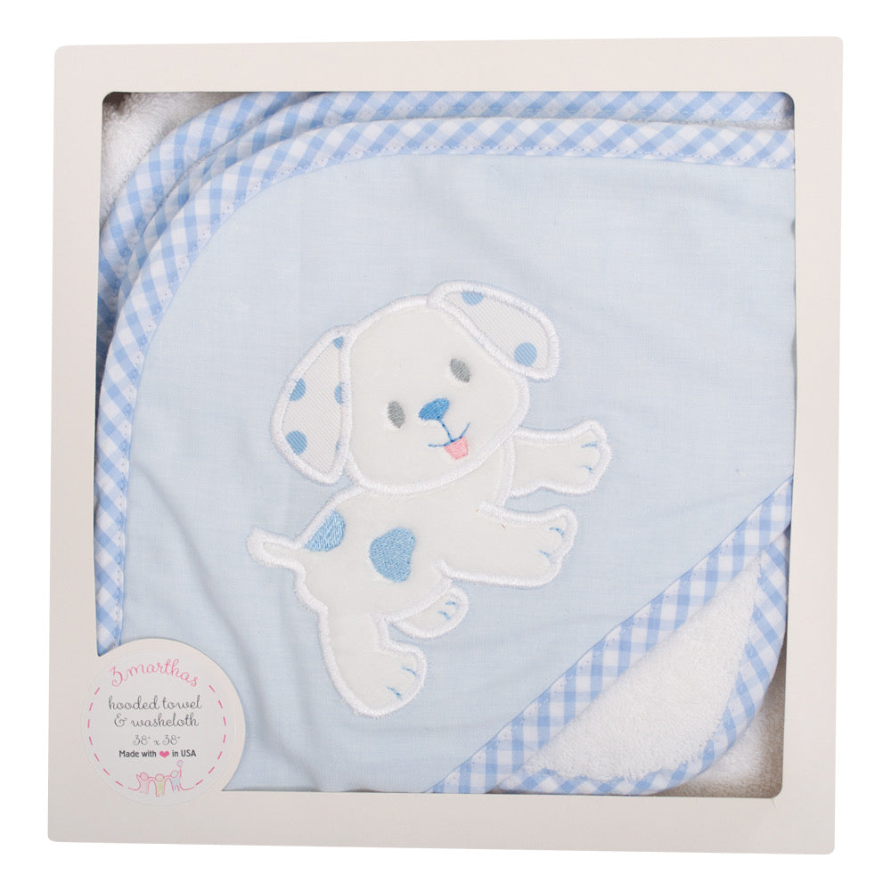 Blue Puppy Boxed Hooded Towel & Washcloth Set - The Preppy Bunny