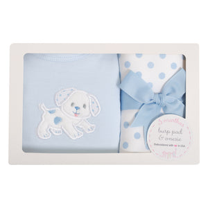 Blue Puppy Bodysuit & Burp Box Set - The Preppy Bunny