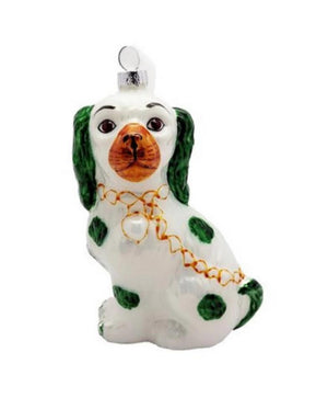 Green and White Staffordshire Dog Ornament - The Preppy Bunny