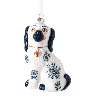 Blue and White Floral Staffordshire Dog Ornament - The Preppy Bunny