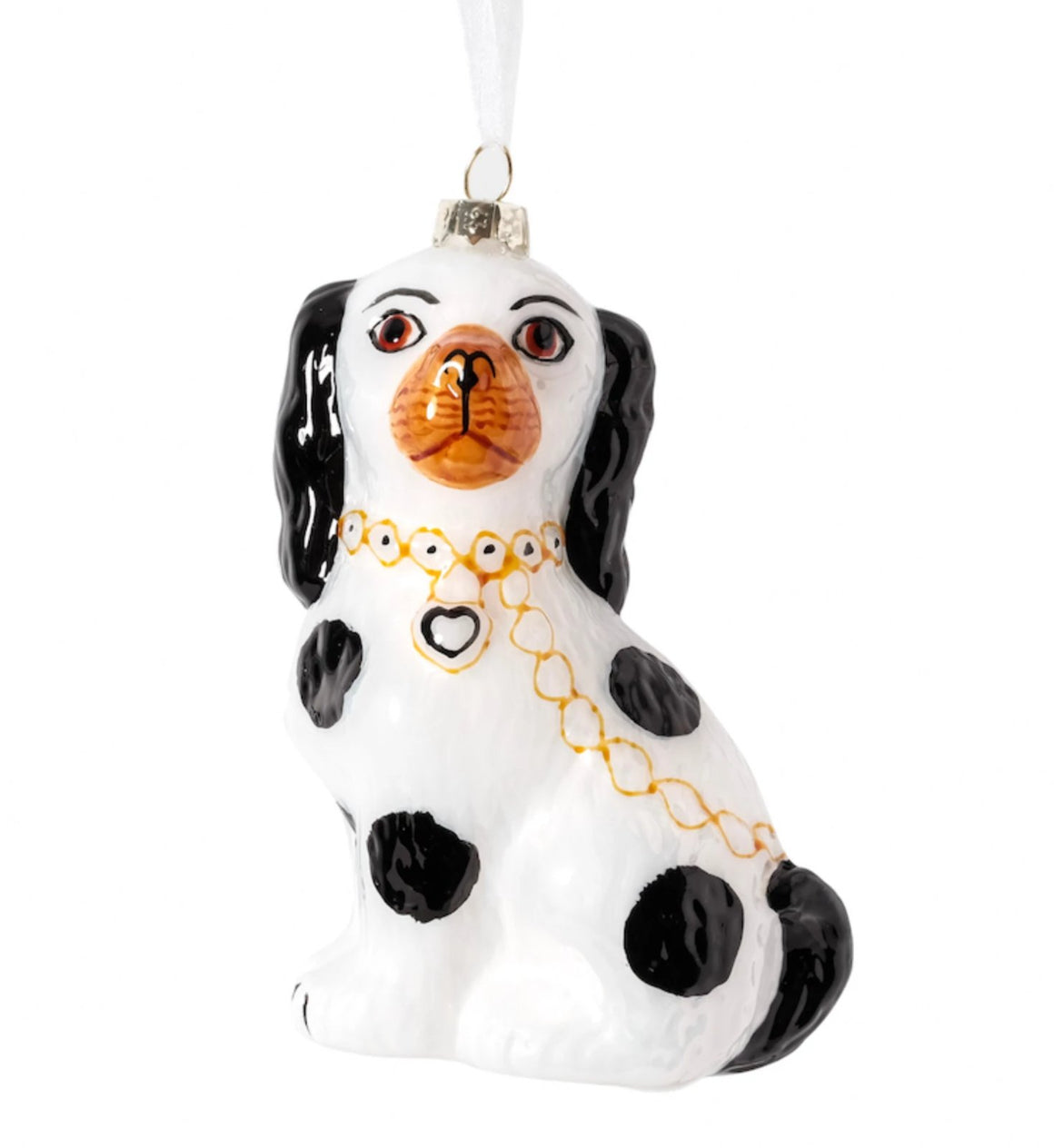 Black and White Staffordshire Dog Ornament - The Preppy Bunny