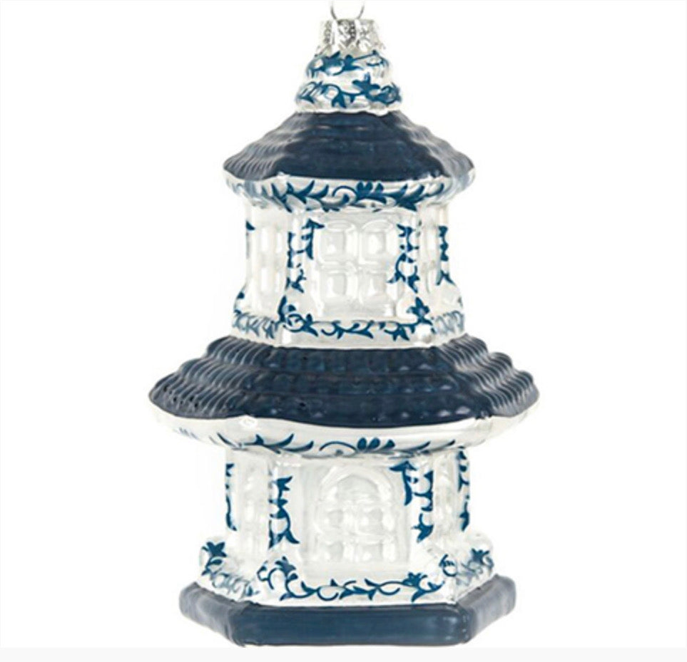 Blue and White Pagoda Ornament - The Preppy Bunny