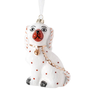 Ivory and Gold Staffordshire Dog Ornament - The Preppy Bunny