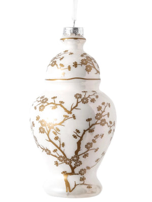 Gold & White Cherry Blossom Ginger Jar Ornament - The Preppy Bunny