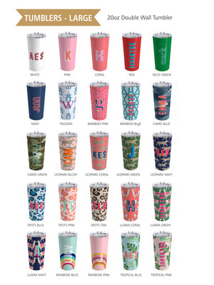 Large Bamboo Blue Tumbler - The Preppy Bunny