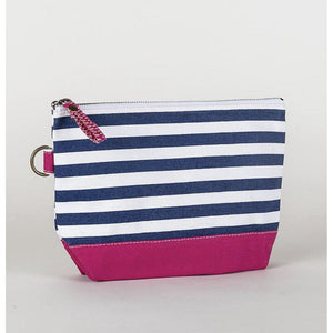 Monogram Canvas Pouch with Navy Stripe - The Preppy Bunny