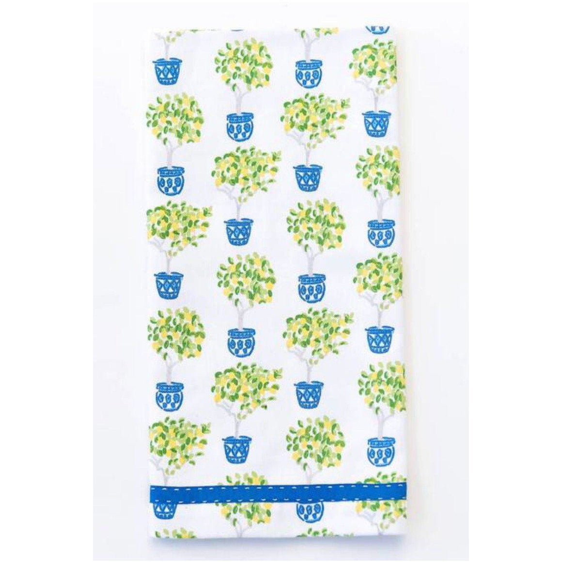 Lemon Topiary Towel with Monogram Set of 2 - The Preppy Bunny