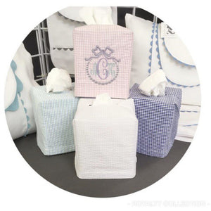 White Seersucker Tissue Box Cover Monogrammed - The Preppy Bunny