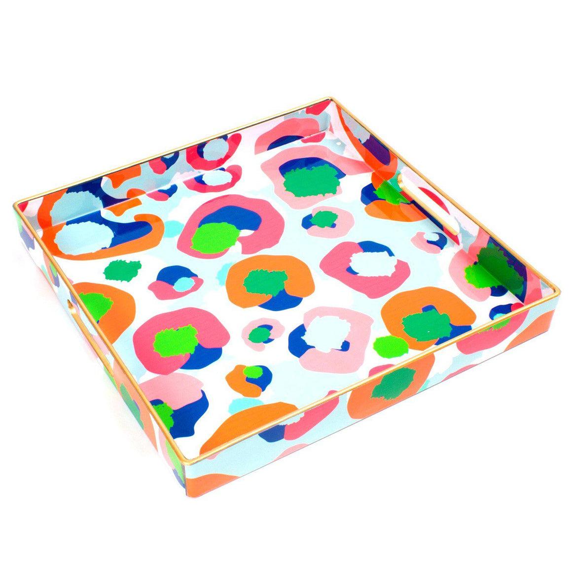 Multi Leopard Square Tray - The Preppy Bunny