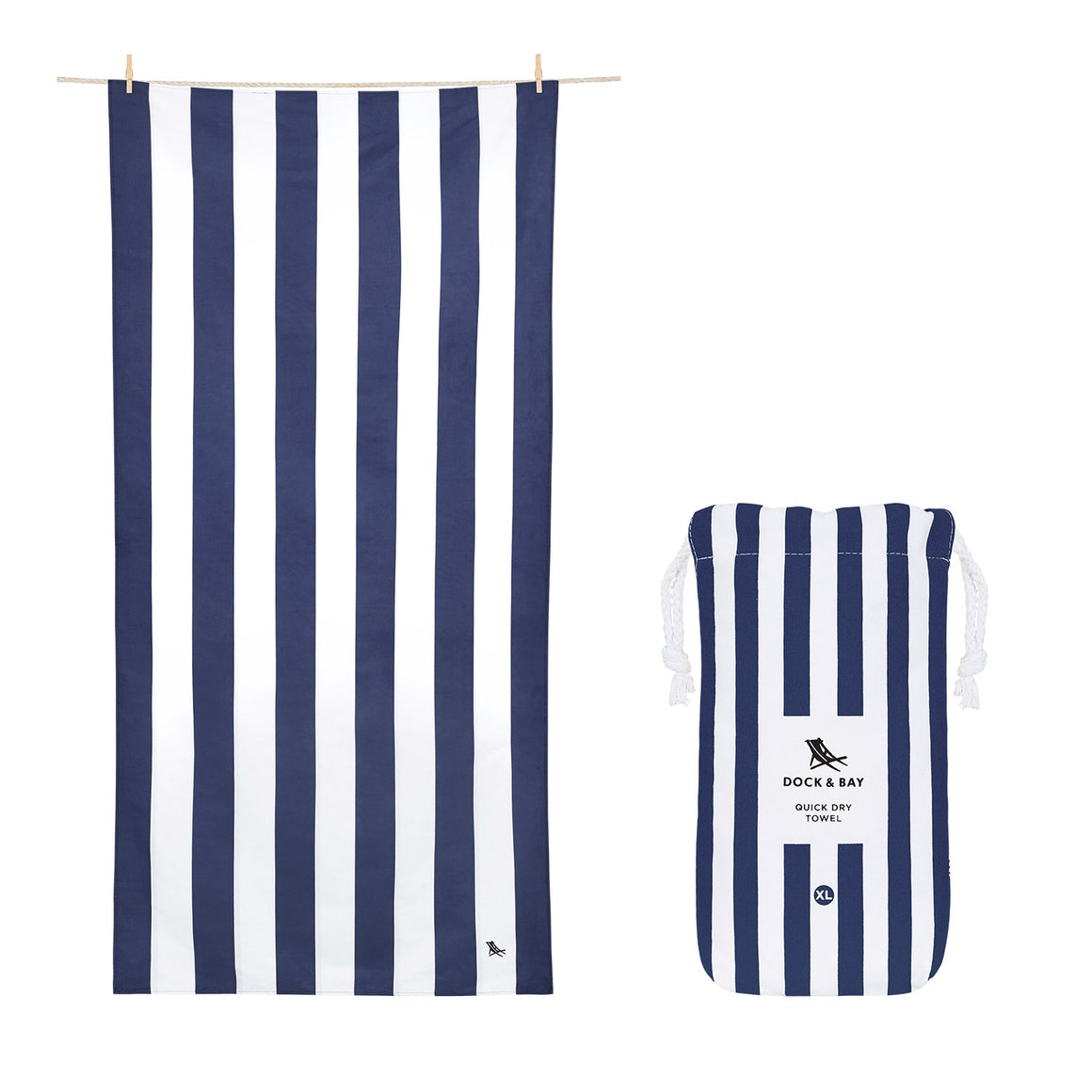 Cabana Stripe Whitsunday Navy Beach Towel with Monogram - The Preppy Bunny
