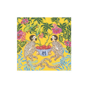 Monkeys Paper Cocktail Napkins in Yellow - The Preppy Bunny