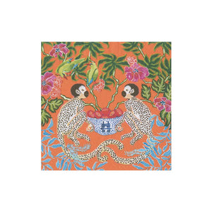 Monkeys Paper Cocktail Napkins in Orange - The Preppy Bunny