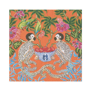 Monkeys Paper Luncheon Napkins in Orange