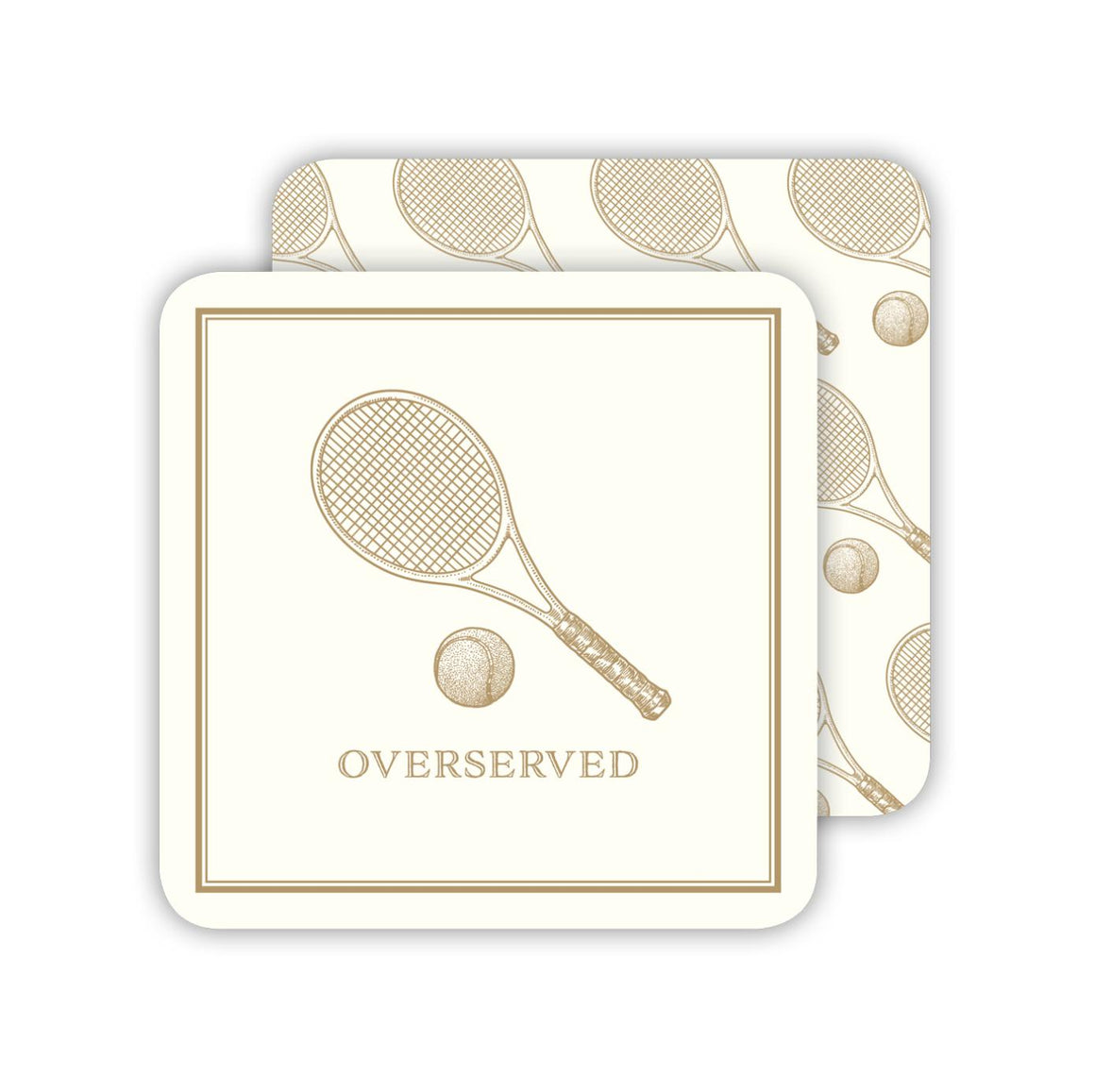 Overserved Tennis Racquet Paper Coasters - The Preppy Bunny