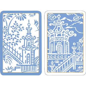 Pagoda Toile Large Type Playing Cards - 2 Decks Included - The Preppy Bunny