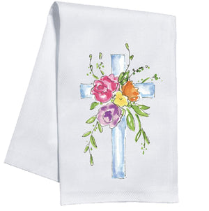Blue Cross with Bouquet Towel - The Preppy Bunny