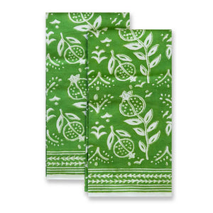 Pomegranate Green Tea Towels Set of 2 - The Preppy Bunny