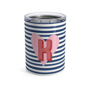 Small Stripes and Heart Tumbler - The Preppy Bunny
