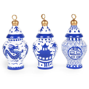 Assorted Blue Ginger Jar Ornaments Set of 3 - The Preppy Bunny