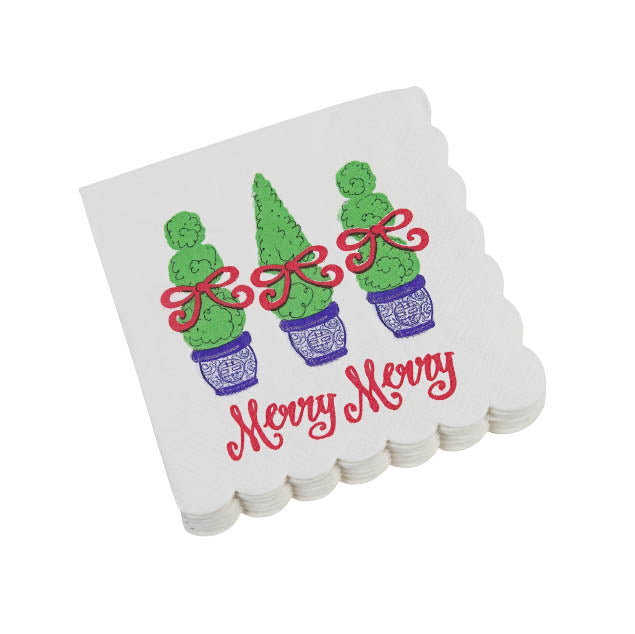 Merry Merry Topiary Paper Cocktail Napkins - The Preppy Bunny