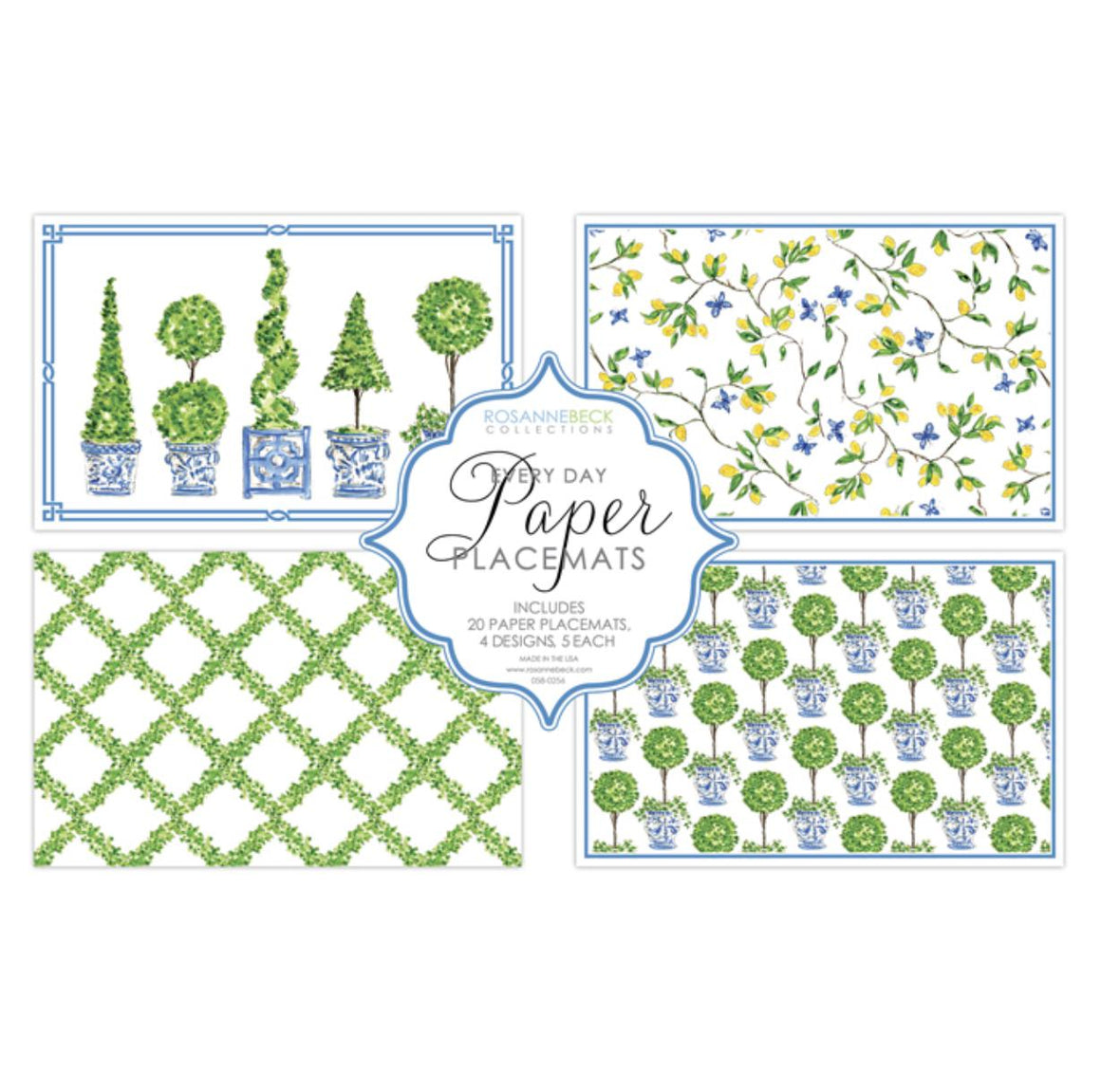 Topiary Boxwood Paper Placemats - The Preppy Bunny