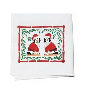 Willa Heart Tinsel & Chestnut Santa Cocktail Napkins - Set of 4 - The Preppy Bunny