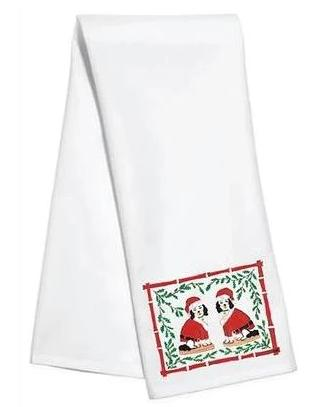 Willa Heart Tinsel & Chestnut Santa Kitchen Towel - The Preppy Bunny