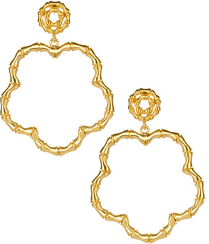 Bamboo Bobbi Earrings Brushed Gold - The Preppy Bunny