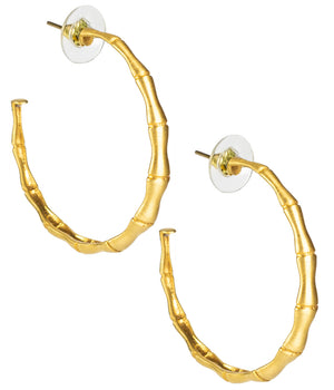 Skinny Bamboo Hoops in Brushed Gold - The Preppy Bunny