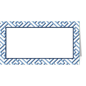 Blue Trellis Fretwork Place Cards - The Preppy Bunny