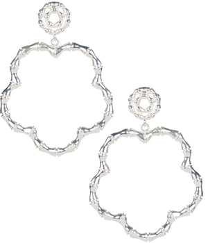 Bamboo Bobbi Earrings Silver - The Preppy Bunny