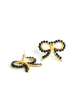 Little Bow Earrings in Czech Black - The Preppy Bunny