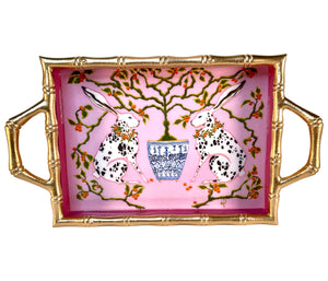 Bunnies Bamboo Tray by Paige Gemmel - The Preppy Bunny