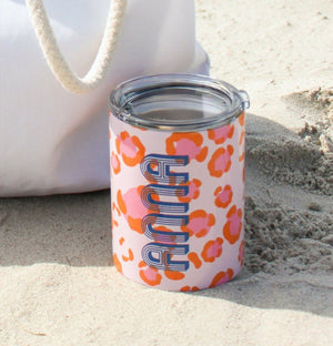Small Leopard Coral Tumbler - The Preppy Bunny
