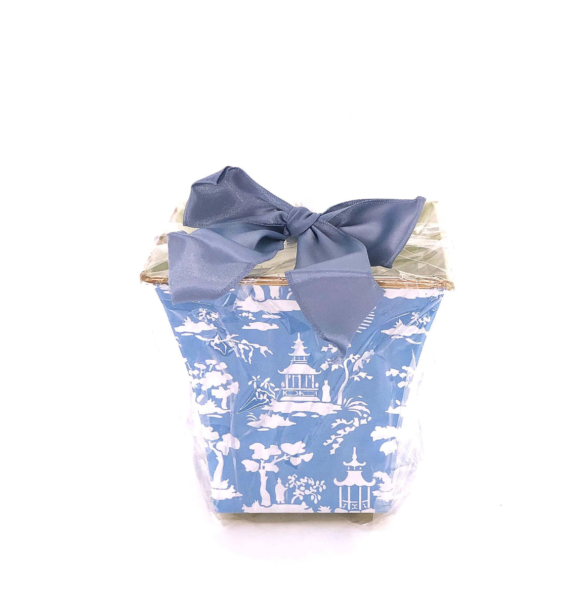 Blue Chinoiserie Cachepot Candle with Monogram - The Preppy Bunny