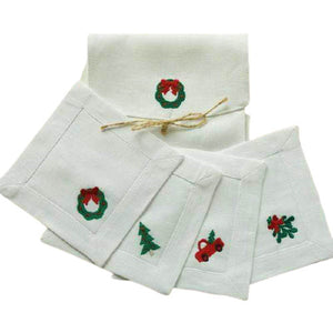 Christmas Novelty Embroidered Linen Cocktail Napkin Set-The Preppy Bunny-The Preppy Bunny