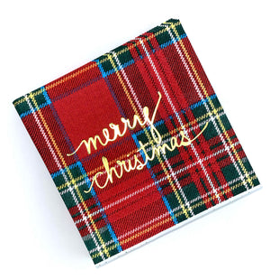 Merry Christmas Plaid Paper Cocktail Napkins - The Preppy Bunny